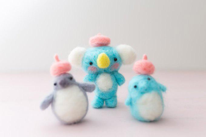 羊毛フェルト コアラ・ペンギン